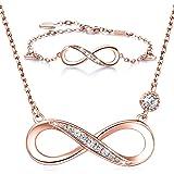 Billie Bijoux Pulsera de Collar de Plata de Ley 925 Conjuntos de Joyas chapadas en Oro Blanco Infinite Regalo de Amor…