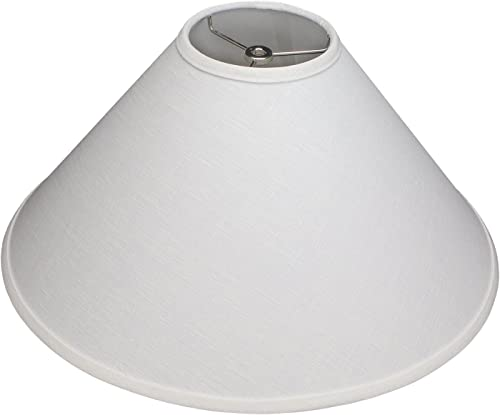 FenchelShades.com Lampshade 5 Top Diameter x 18 Bottom Diameter x 11 Slant Height with Washer Spider Attachment for Lamps with a Harp Designer Linen Off-White