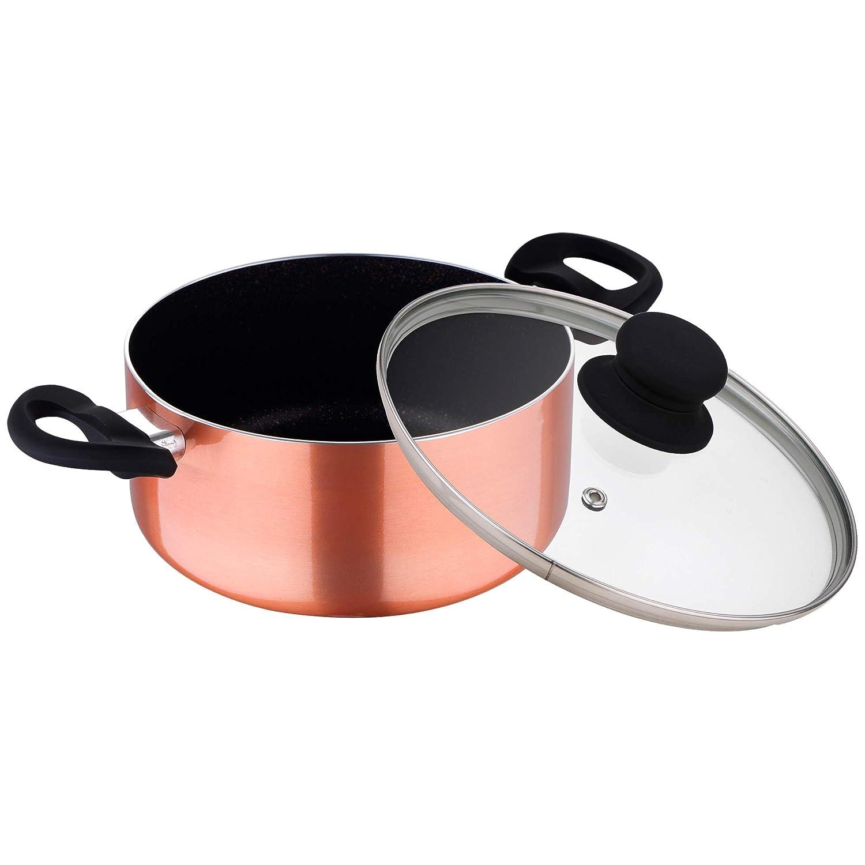 Batería de cocina color bronce 7 piezas: Sartén Ø26 cm; Ollas con tapa de vidrio de Ø16 (1,25 litros), Ø20 (3,3 litros), y Ø24 (4,5 litros): Amazon.es: ...
