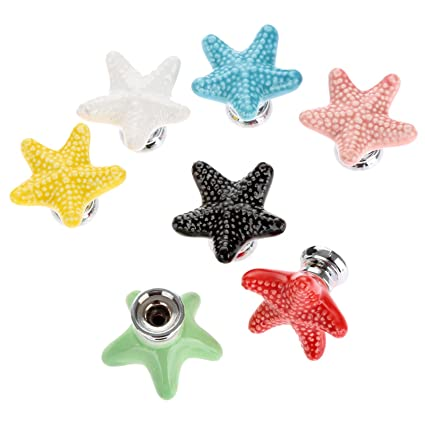 Captivating Mixed Colors(7pcs) Fashion Starfish Design Ceramic Door Knobs Handles  Cabinet Cupboard Drawer Pulls