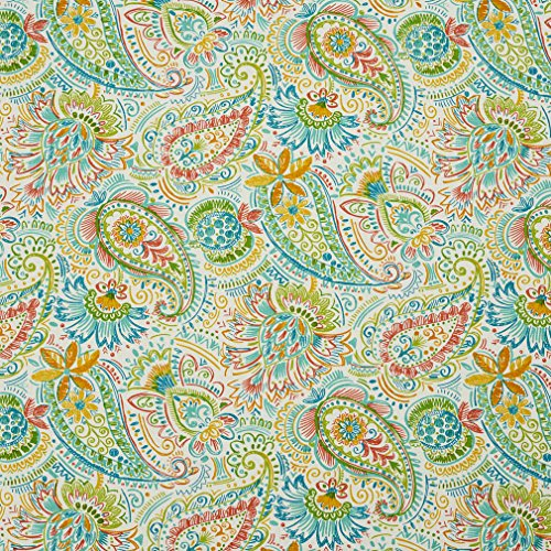 - Paradise Aqua Teal Burgundy Red Rust Coral Orange Persimmon Light Geen White Beach Nautical Contemporary Juvenile Paisley Tropical Print Outdoor and Indoor Bacteria and Mildew Resistant Performance Grade Water Resistant Fade Resistant Upholstery Fabric by the yard