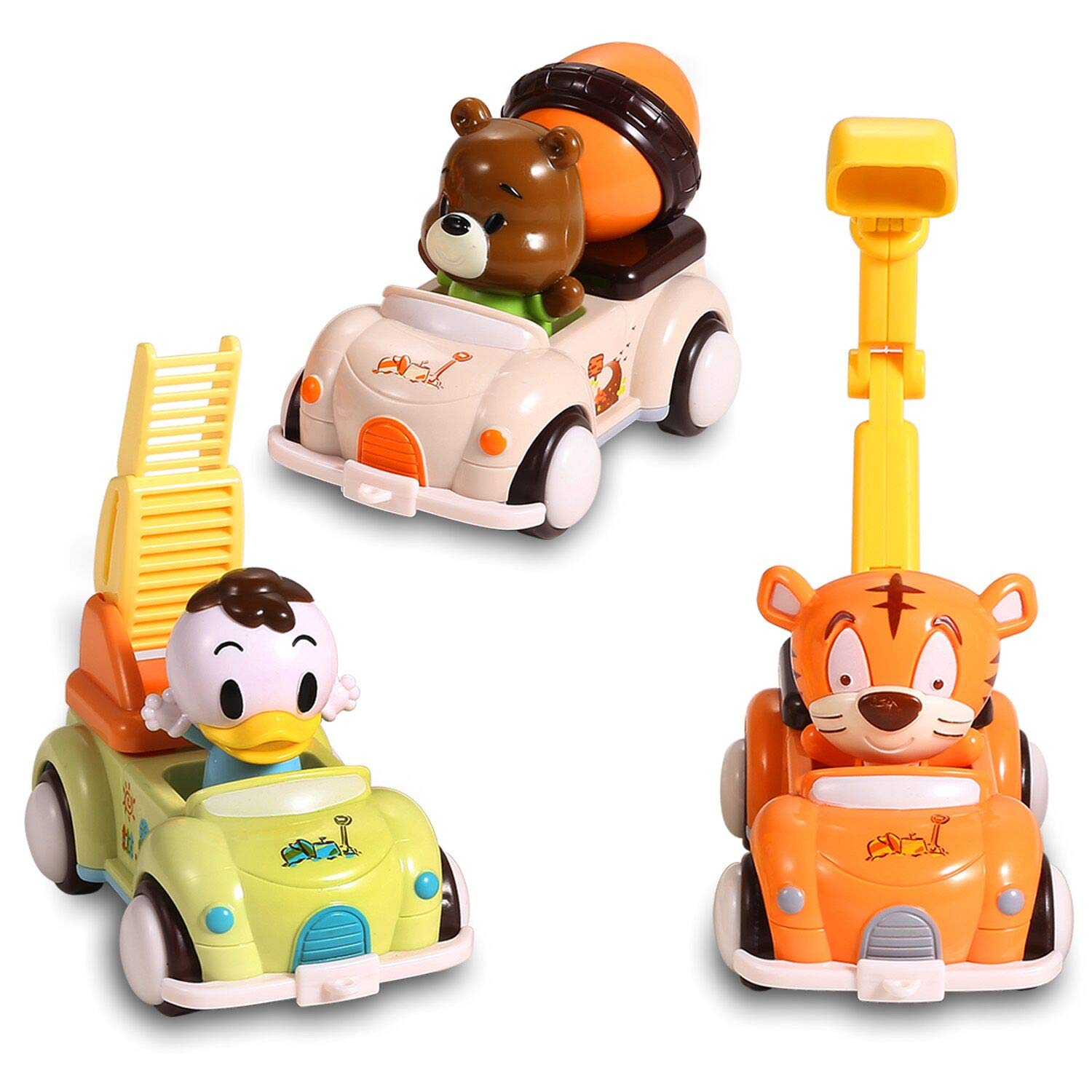 EFOSHM Car Toys for Baby 3 Sets-Friction Powered Cars-Push and Go Cars-Cartoon Cars Toys for Kids, Toddler Toy Cars for 1, 2, 3, 4, 5, 6 Years Old