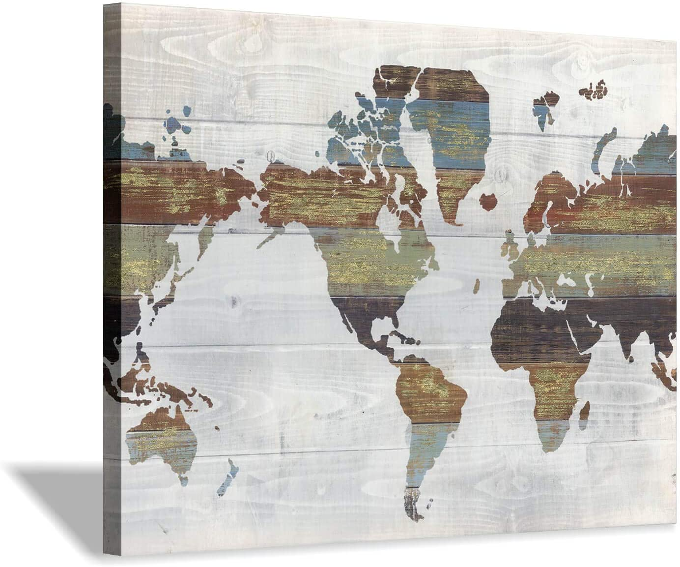 Canvas Wall Art World Map: Retro Wood Background Vintage Artwork Canvas Print in Brown and White for Home or Office Decoration (24'' x 18'')