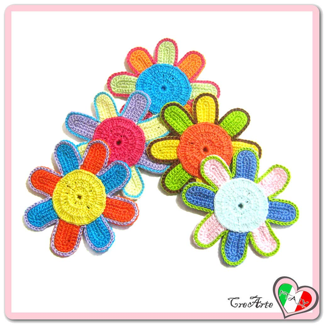 Set 5 flores de colores para aplicaciones, broche o imán de ...