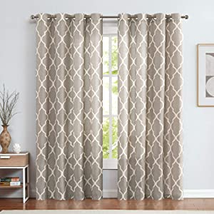 jinchan Curtains Grey Linen Living Room Drapes Light Filtering Moroccan Tile Print Window Treatment Bedroom Curtain Flax Textured Geometry Lattice Grommet for Dining Room 50