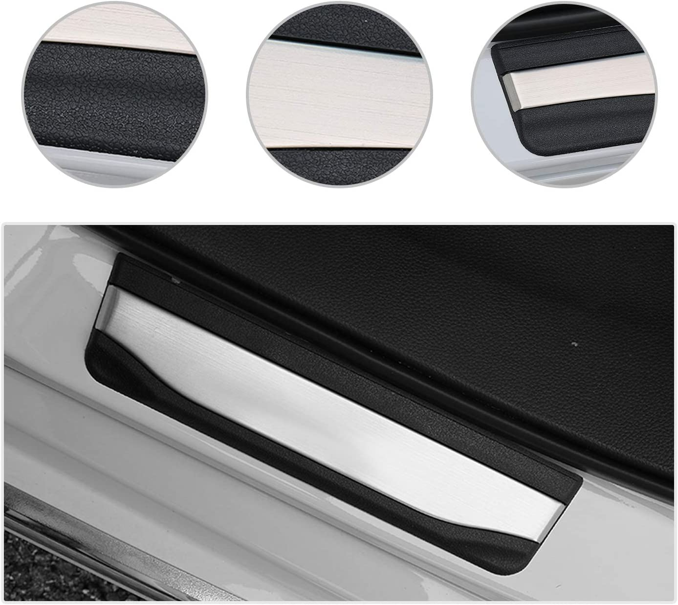 4PCS Car Door Sill Protector Door Sill Scuff Plates for Passport Pilot Insight Clarity, Door Entry Guard Cover Door Sill Protection Stainless Steel Scratch Resistance CDEFG