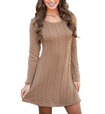89562f429301 Landove Mini Robe Manche Longue Automne Hiver Casual Pull en Tricot Femme  Sweater Basique Tunique Robe
