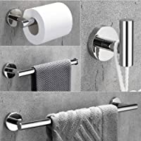 VELIMAX 18/8 Stainless Steel 4-Piece Bathroom Hardware Set Modern Round Towel Bars Wall Mounted Bathroom Fixtures Kit, 23.6-Inch, Polished Finish