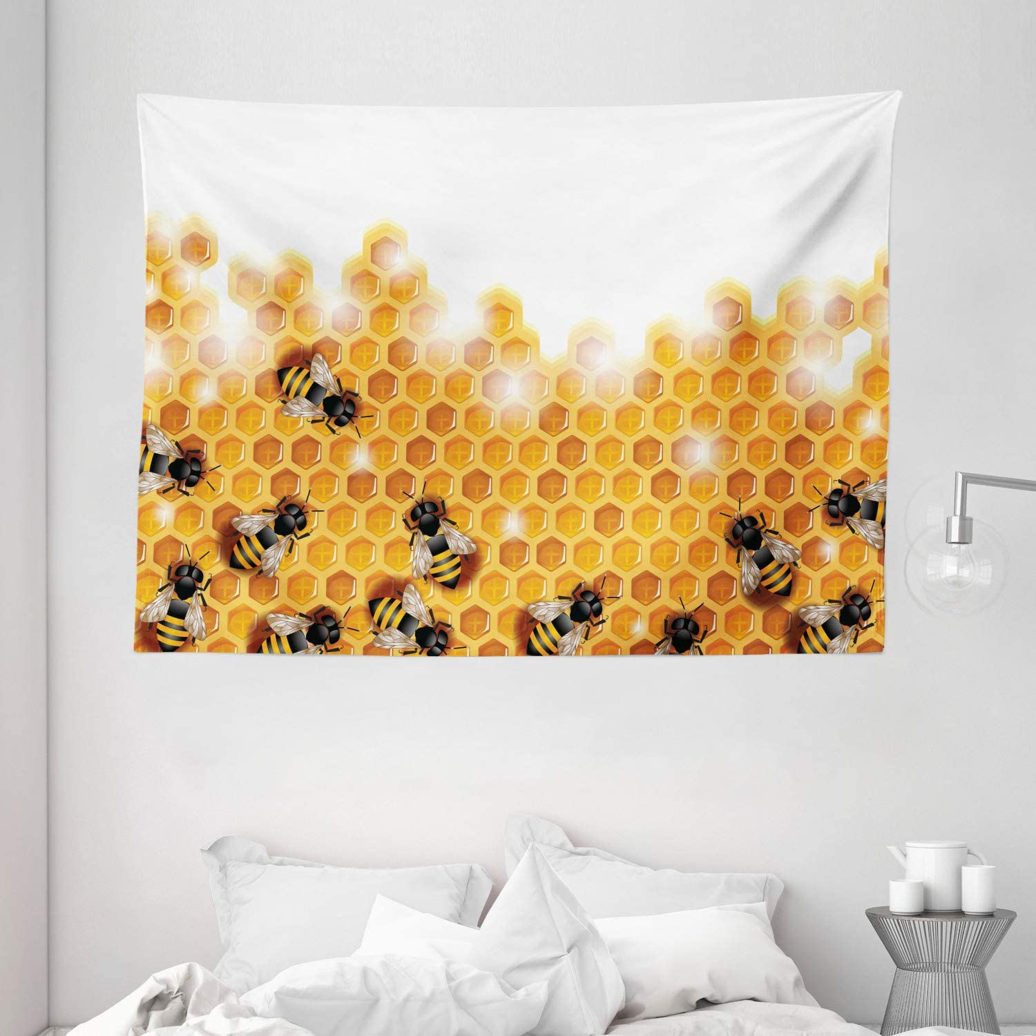 """Ambesonne Nature Tapestry, Honey Bees Wax Abstract Insect of Spring Season Artwork Image, Wide Wall Hanging for Bedroom Living Room Dorm, 80"""" X 60"""", Marigold Apricot"""