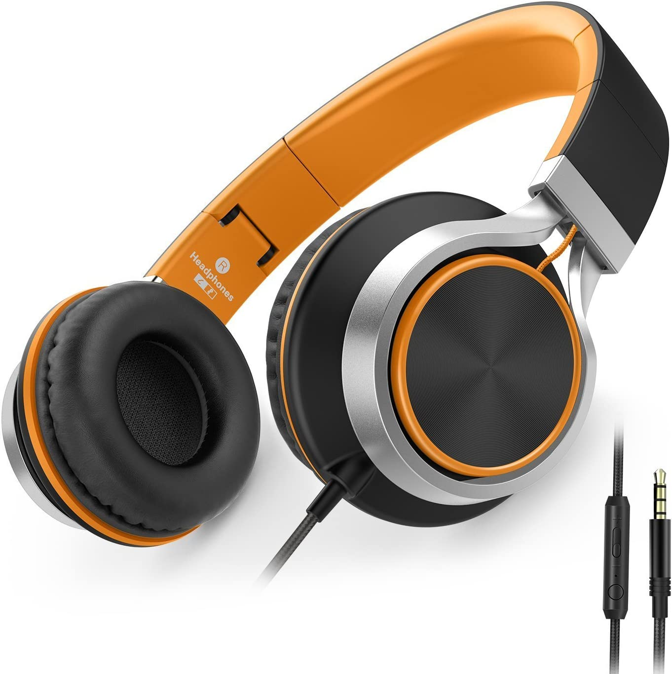 AILIHEN C8 Wired Folding Headphones with Microphone and Volume Control for Cellphones Tablets Android Smartphones Chromebook Laptop Computer Mp3/4 (Black/Orange)