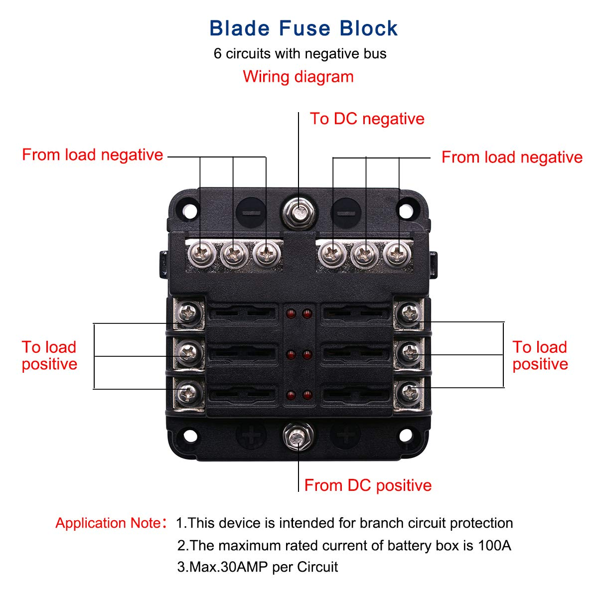 Autorocking 6 Way Blade Fuse Box Block Holder With Led Dc Wiring Diagram Lights And Waterproof Dustproof Cover For Automobiles Cars Suvs Rvs Buses Yachts Boats