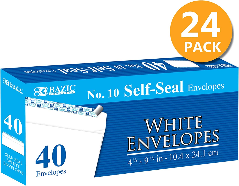 Peel /& Seal No Window 1-Pack Safe Quick Self-Adhesive Closure BAZIC #10 Self-Seal White Mailing Envelope 4 1//8 x 9 1//2 50//Pack
