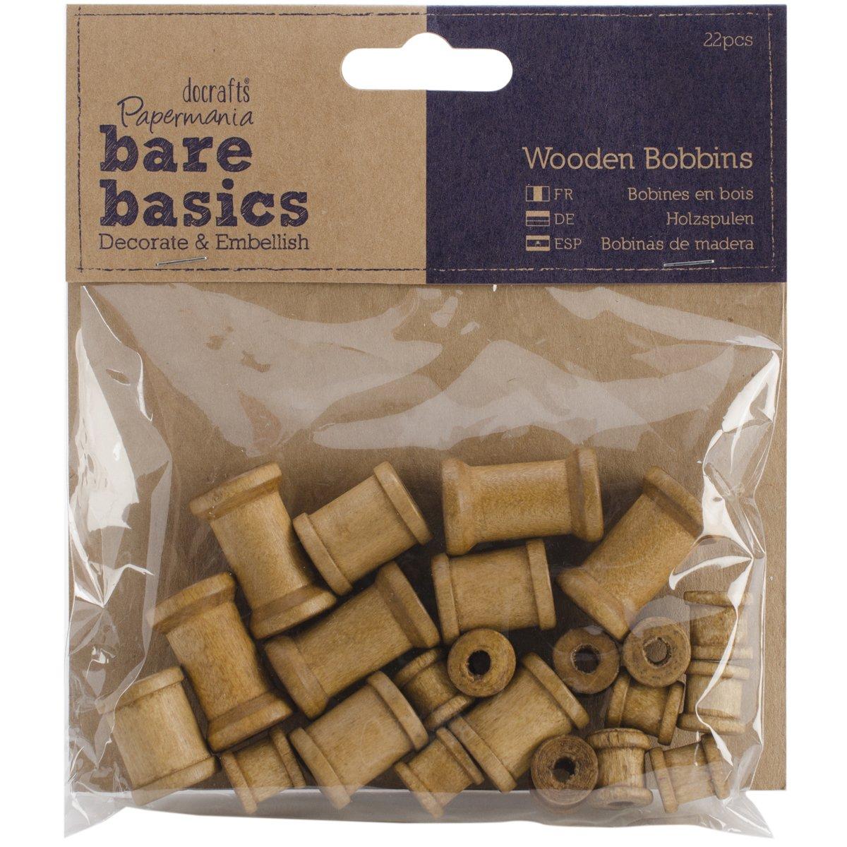 Papermania - Bobinas de madera (22 unidades), color marrón Docrafts PM174603