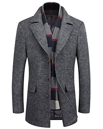 17d29a5afe3 Men s Mid Length Wool Blend Single Breasted Trenchcoat Fashion Pea Coat at  Amazon Men s Clothing store