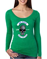 Allntrends Women's Shirt We Face What You Fear USA Blue Flag Skull