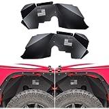 Front Inner Fender Liners Fit for Jeep Wrangler 2007-2018 JK JKU 4WD US Flag Logo Aluminum Lightweight Design Black…