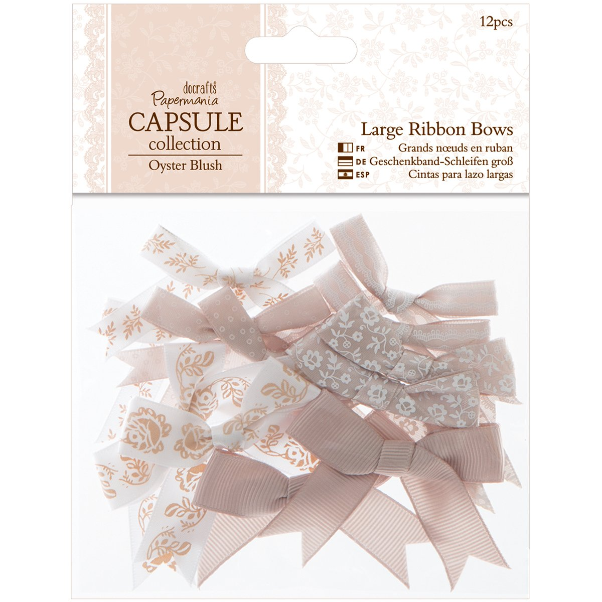 Bows Papermania 20-piece Capsule Ribbon Bow With Spots And Stripes Pastels