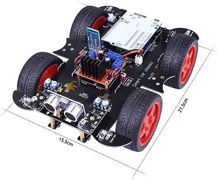 kuman Kit de Coche de Robot RC, Kit de robótica R3 Conjuntos con módulo de Seguimiento de línea, Sensor ultrasónico, Servomotor, Bocina, Tutoriales para Arduino SM11