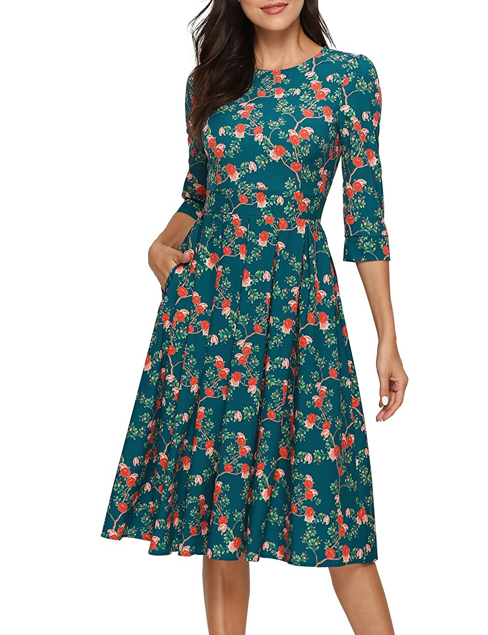 1940s Dress Styles Simple Flavor Womens Floral Vintage Dress Elegant Midi Evening Dress 3/4 Sleeves $26.99 AT vintagedancer.com