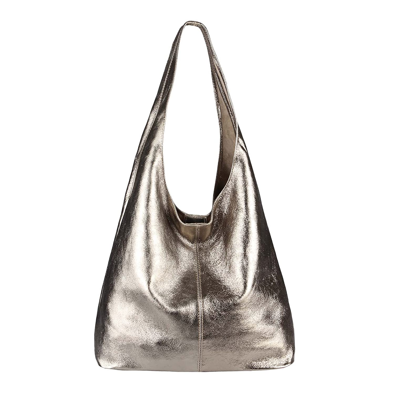 6ea475bcfaf02 OBC Made IN Italy Damen Leder Tasche Handtasche Wildleder Shopper  Schultertasche Hobo-Bag Henkeltasche Beuteltasche Velourleder ...