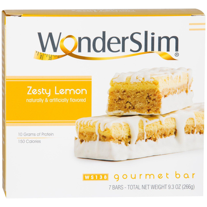 WonderSlim Gourmet High Protein Bar/Diet Bars with 10g Protein - Trans Fat Free, Cholesterol Free, Zesty Lemon (7 Count) by WonderSlim
