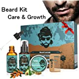 LuckyFine Beard Styling and Shaping Set - Great for Dry or Wet Beards - Adds Shine and Softness - Gift Set Includes Beard Shampoo ,Beard Oil ,Beard Balm ,Wooden Comb - Valentine's Day Gift