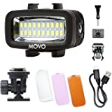 Movo LED-WP Underwater High-Power Rechargeable LED Video Light with Action Camera and Shoe Mounts, Compatible with GoPro…