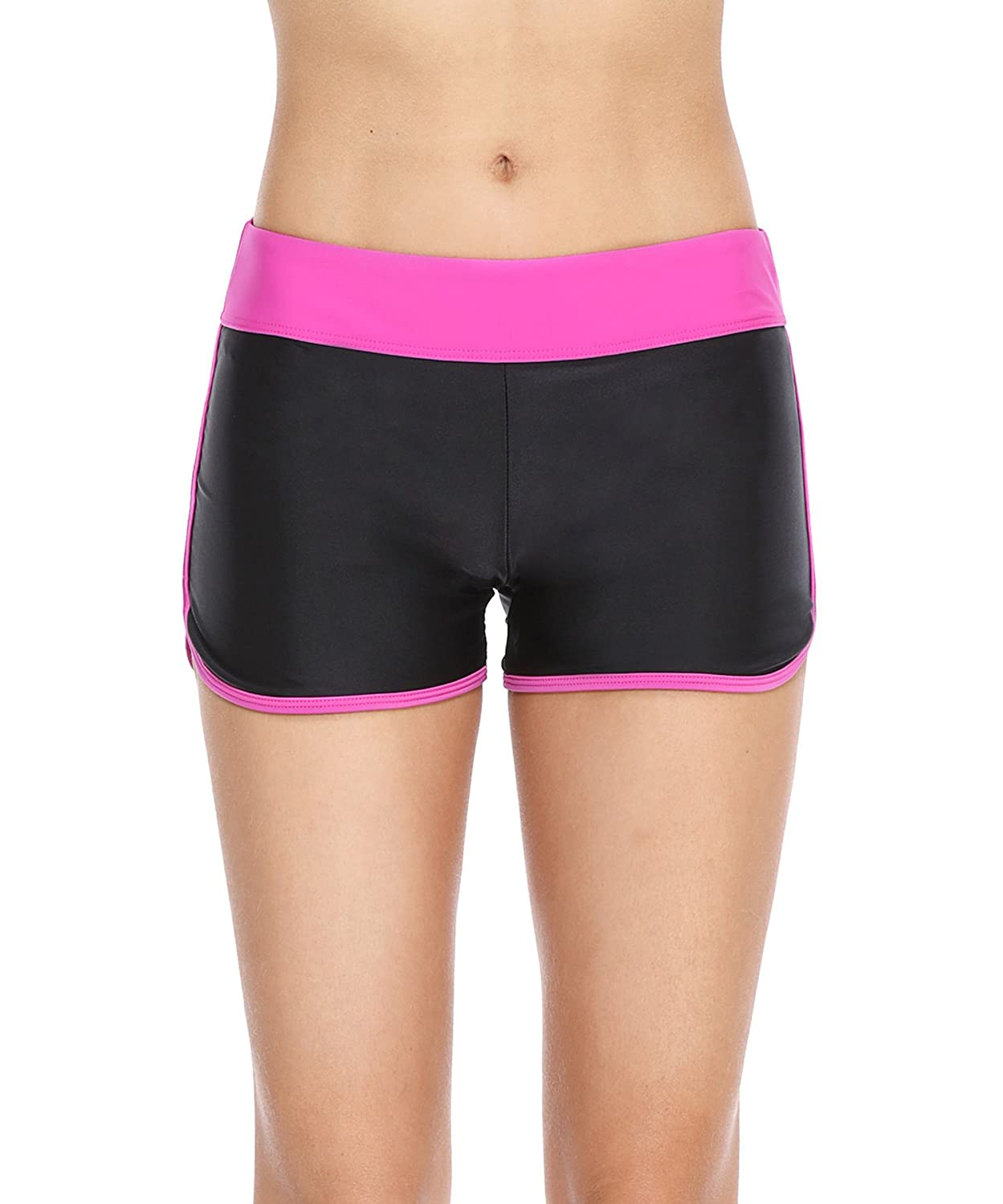 Eono Essentials Women's Colour Block Swim Shorts/Boy Shorts/Beach Bottoms