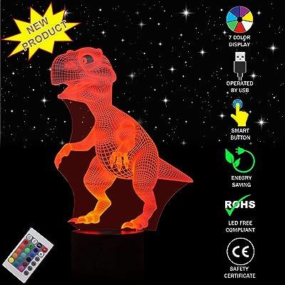 3D LED lampe de nuit, Colorful Forme Magical Illusion 3D Lampe, Touch Control Lumière 7 couleurs changent USB Powered Lampes de bureau pour enfants Chambre Décoration Meilleur cadeau, Noël, Cadeaux d'annive