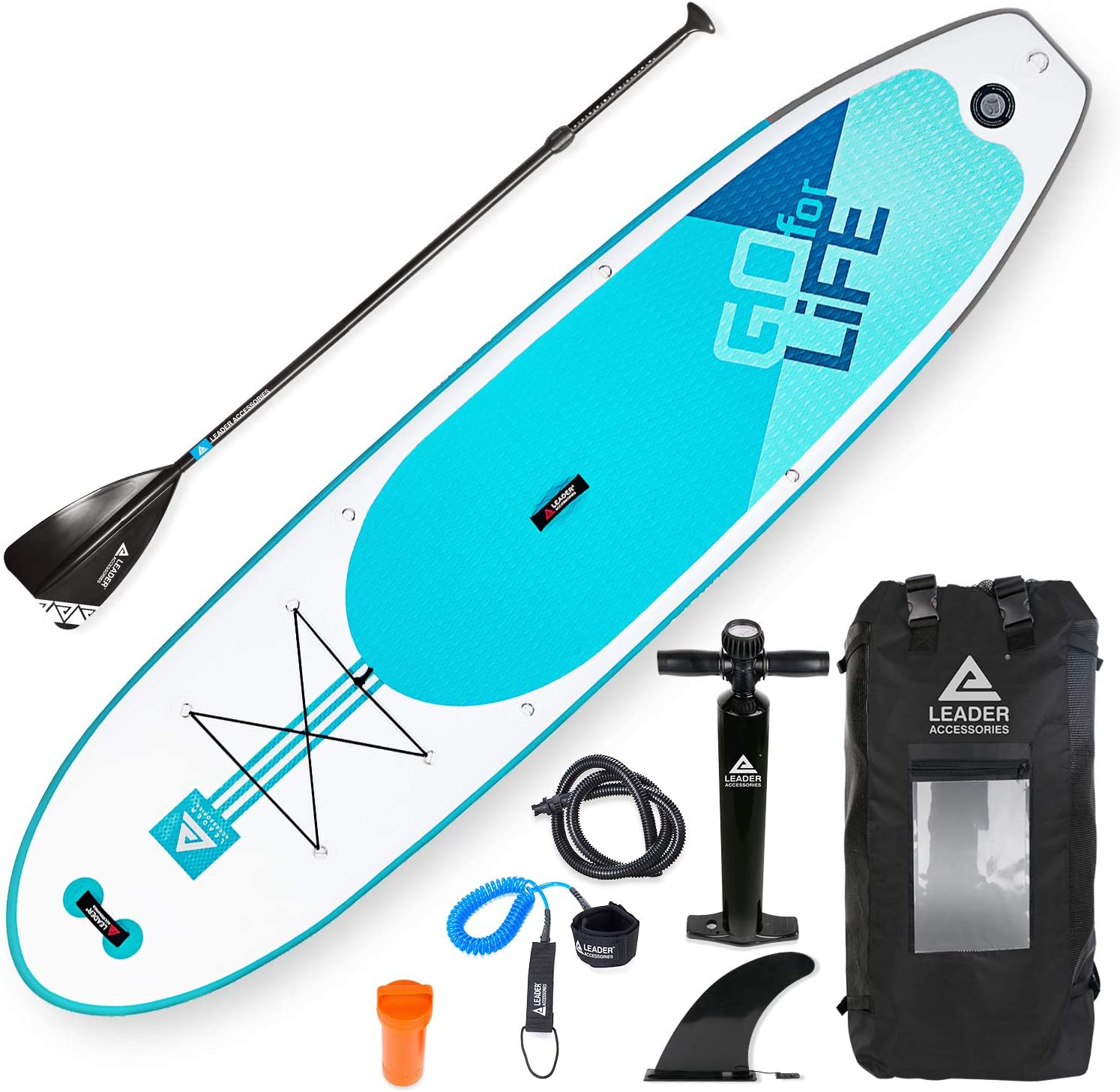 Leader Accessories 10 6 and 11 2 Inflatable Stand Up Board with Fins 6 Thick Includes Adjustable Paddle,Kayak Leash,ISUP Backpack,Pump with Gauge