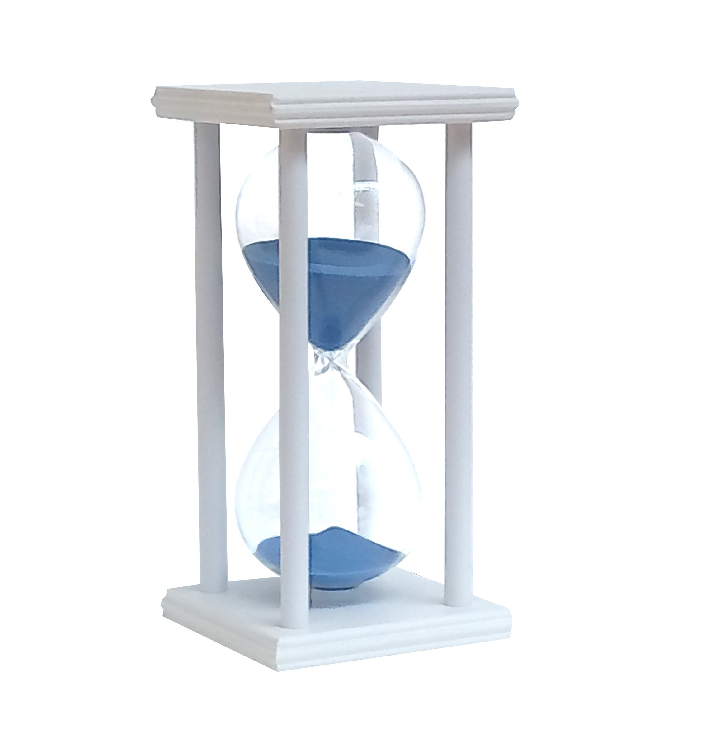 YuPing Hourglass 45 Minutes Wooden Frame Glass Sand Timer For Decorated Home Desktop Kitchen Clock (White Blue sand)