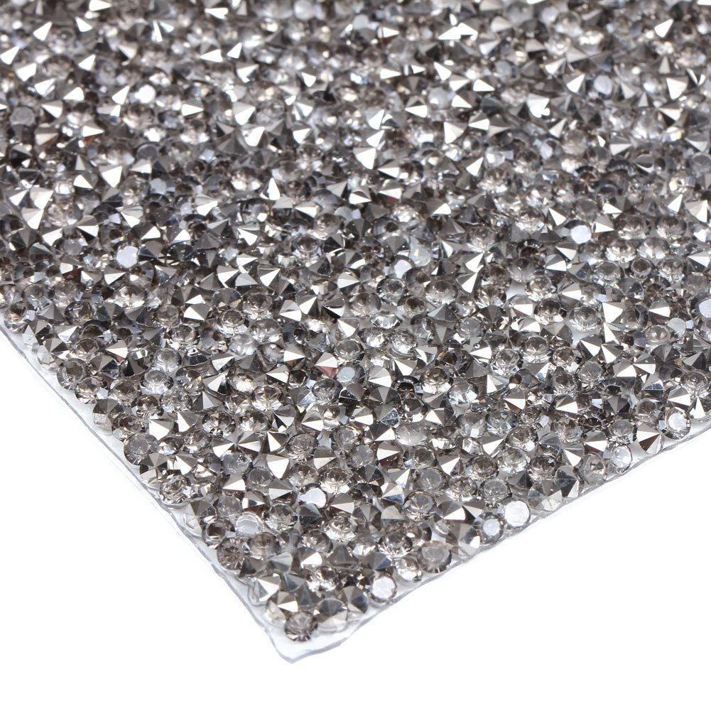 240X400mm Crystal Rhinestone Trim Hotfix Strass Crystal Mesh Banding Bridal Beaded Applique in Sheet for Dresses with 2mm Rhinestones (Black) Evernew