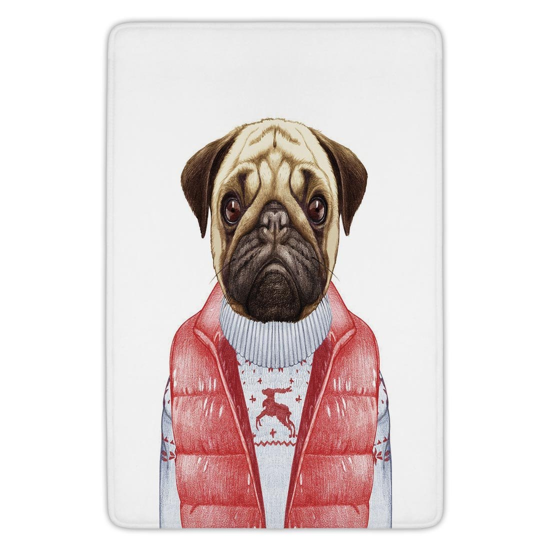 Bathroom Bath Rug Kitchen Floor Mat Carpet,Pug,Red Vest and Christmas Sweater on a Adorable Dog Hand Drawn Animal Fun Image,Pale Brown Red White,Flannel Microfiber Non-slip Soft Absorbent