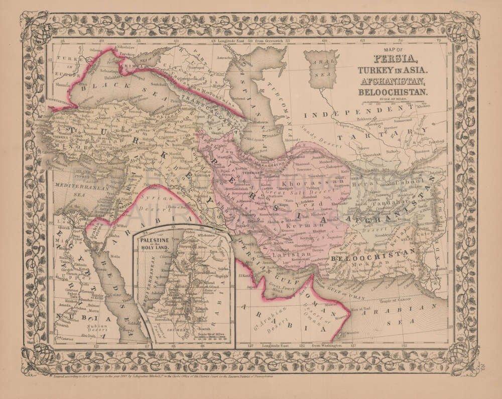 Map Of Asia Un.Amazon Com Persia Turkey In Asia Antique Map Mitchell 1868 Original