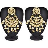 Mann Jewels Kundan Chandbali Earrings for Women & Girls | Traditional Gold Plated Kundan Dangler Earrings for Wedding (Golden)
