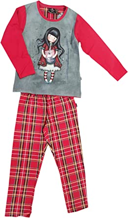 Santoro Gorjuss Pijama de 2 piezas de camiseta + pantalón 100% cálido algodón tartán invernal original y auténtico, ideal para niña/mujer/niña, en ...