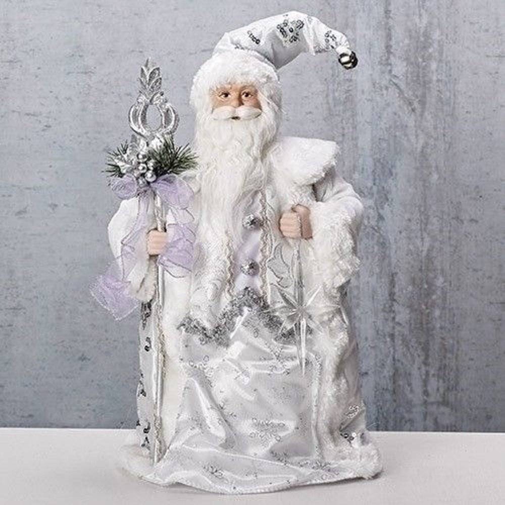 Roman 16'' White Santa with Silver Staff Christmas Tree Topper