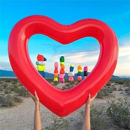 UClever Hinchable Flotador Colchonetas Piscina Gigante 120cm (Corazón Rojo): Amazon.es: Juguetes y juegos