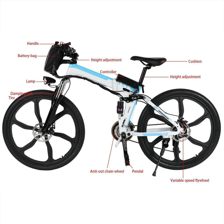 Coorun Bicicleta eléctrica Plegable montaña, batería 36 V 250 W con batería de Litio de Alta Capacidad, Frenos a Disco mecánico, Cambio de Velocidad Shimano ...
