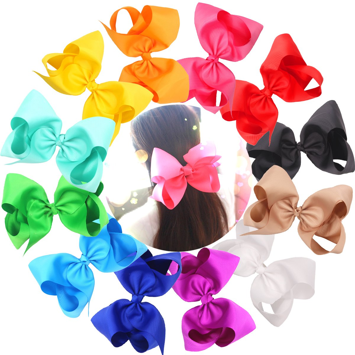 Amazon Com Lclhb Trendy Big Hair Bows With Oversized