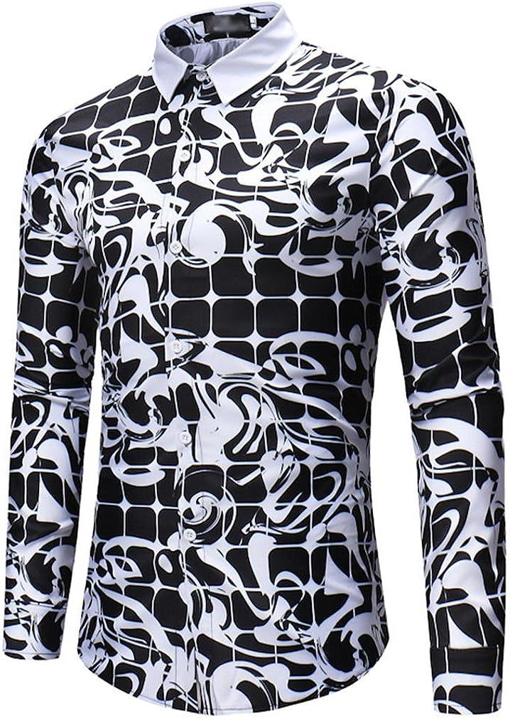Usopu Camisa de Manga Larga Estampada a Cuadros en Blanco y Negro Diario Informal de Hombre: Amazon.es: Ropa y accesorios