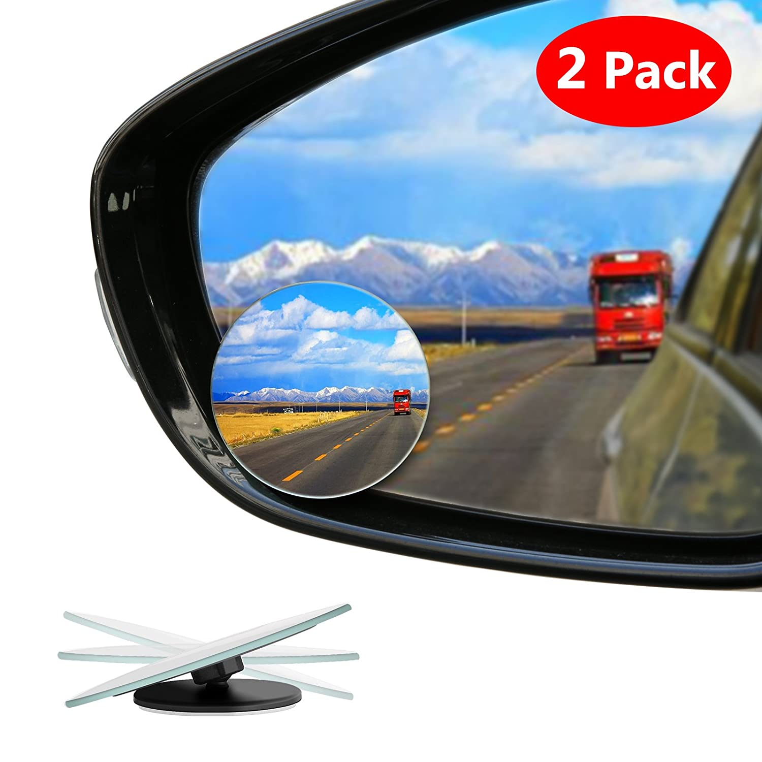 SUV Stick on Design Blind Spot Mirror for Cars LIBERRWAY Blind Side Mirrors HD Glass Side Mirror Blind Spot Frameless Convex Rear View Mirror for Car