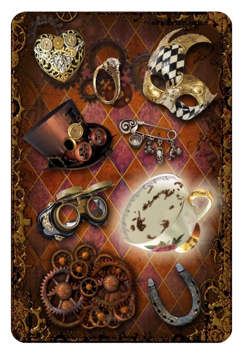 STEAMPUNK TEA LEAF FORTUNE TELLING CARDS (45 bronze gilt-edged cards w/guidebook, boxed) 4