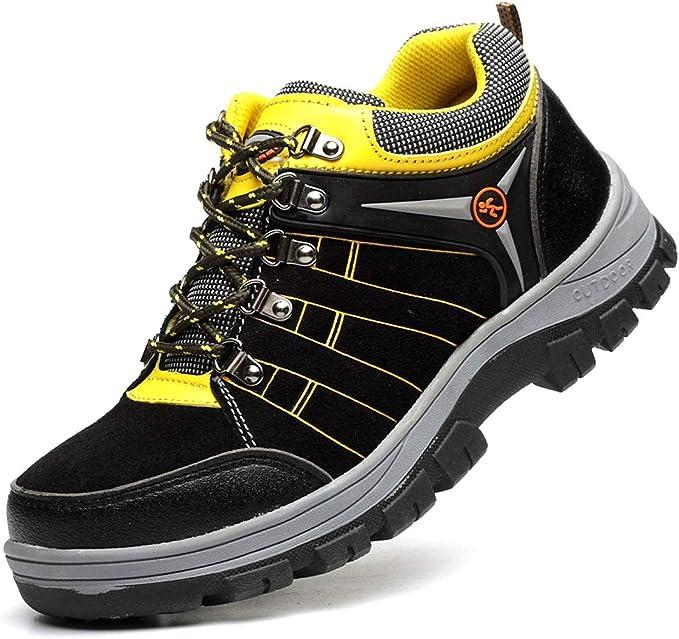 Dxyap Zapatos de Seguridad para Hombres con Punta de Acero Botas ...