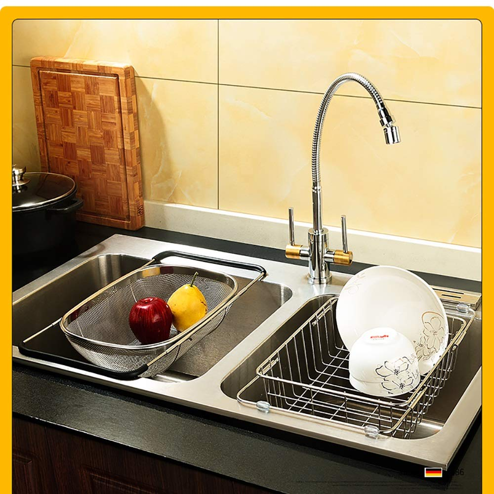 Stainless steel Housewares Under Shelf Storage Basket, kitchen shelf storage,39~45.5 cm (Size : B) by Guoqing (Image #5)