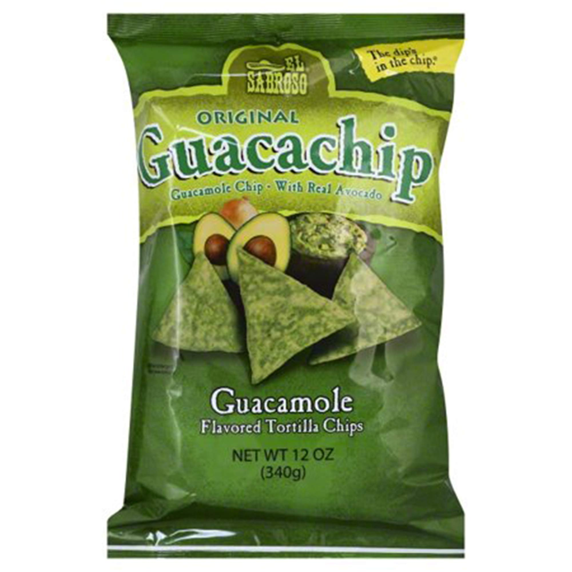 El Sabroso Guacachip, Guacamole Flavored Tortilla Chips, 12-Ounce Package by Snak King
