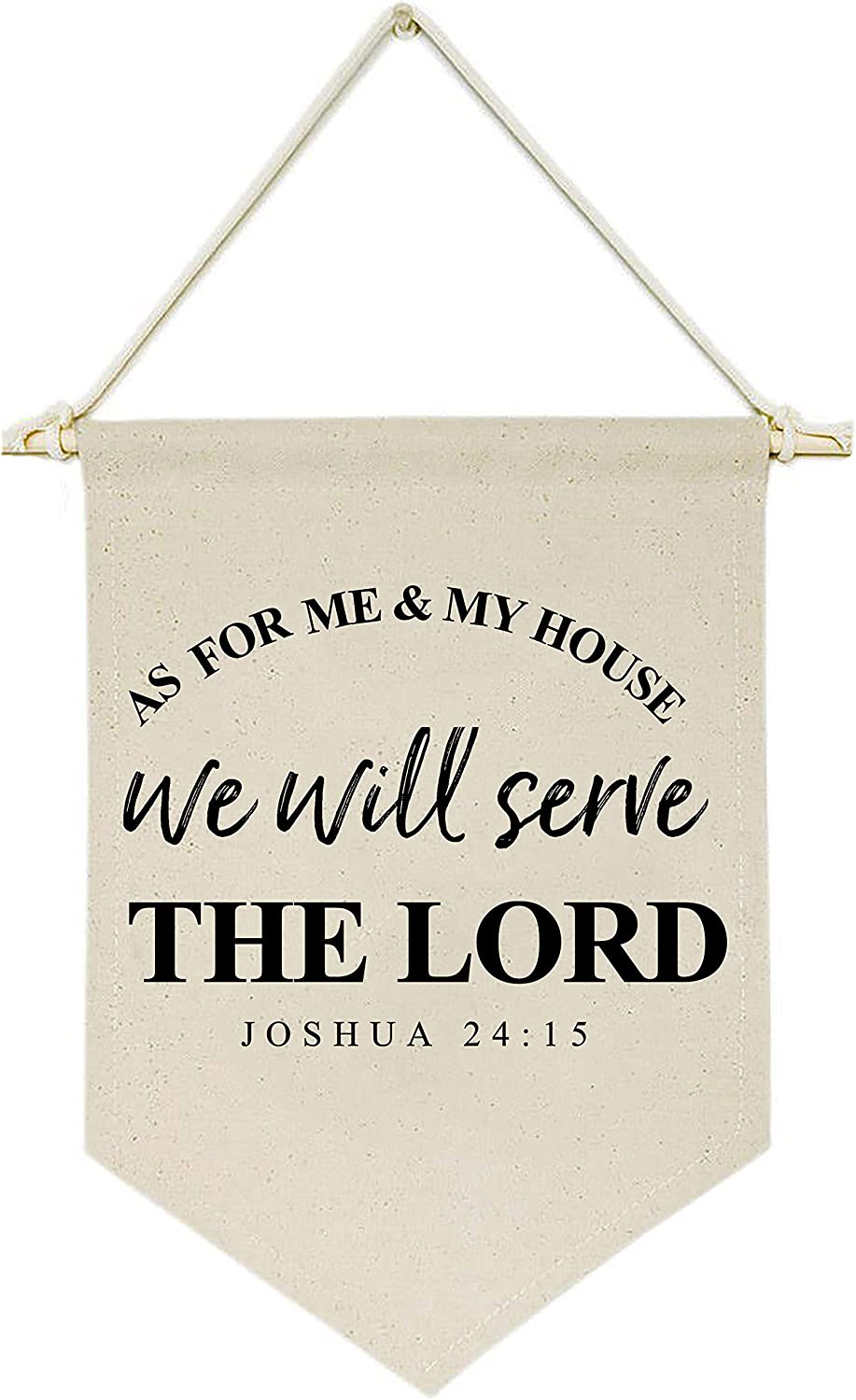 As for Me and My House,We Will Serve the Lord -Housewarming Gift - Canvas Hanging Flag Banner Wall Sign Decor Gift for New Home,Living Room,Bedroom,Front Porch Decor - Bible Verse Scripture Decor