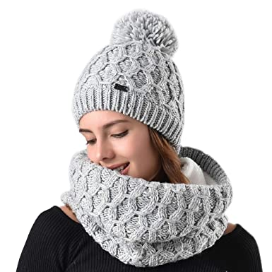 Womens Winter Hat and Scarf Set for Girls Knitted Beanie Hat Pom Pom Hats  Infinity Scarf dfc3e7e8a1c