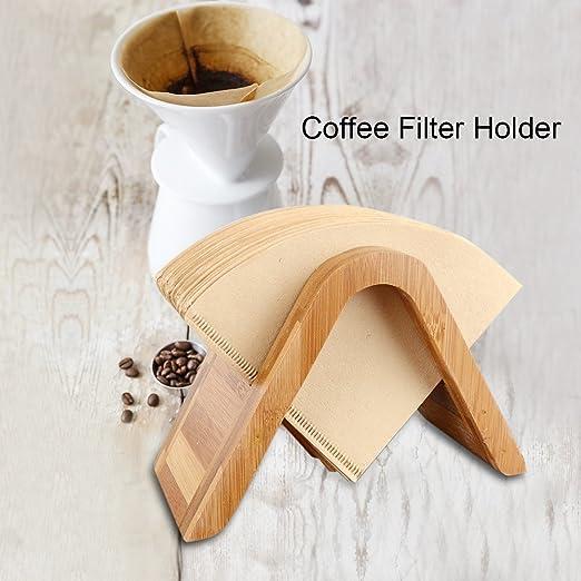 Madera Café filtro de café Dispenser Soporte de bambú madera papel ...