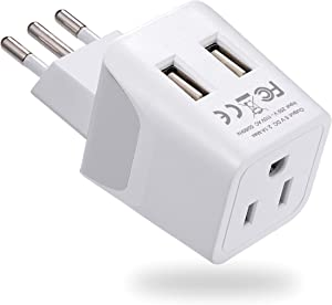 Italy, Chile, Uruguay Travel Adapter Plug by Ceptics With Dual USB - USA Input - Type L - Ultra Compact- Perfect for Cell Phones, Laptop, Camera Chargers, iWatch, iPad, iPhone and More (CTU-12A)